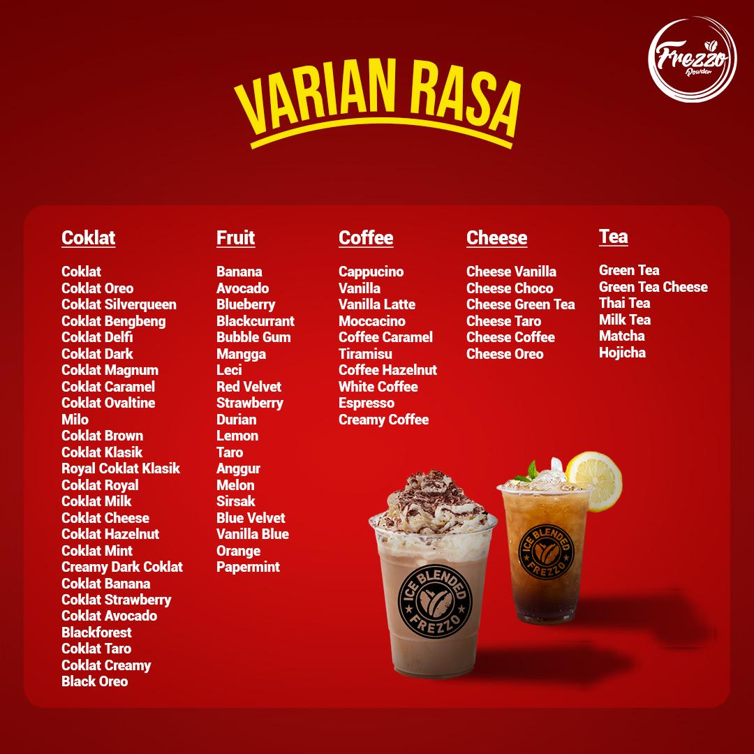 Bubuk Coklat, Bubuk Kopi, Bubuk Cappucino, Bubuk Taro, Bubuk Red Velvet, Bubuk Strawberry, Bubuk Greentea, Bubuk Thai Tea